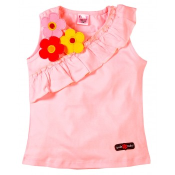 Young Ones Flower Applique with Frill Sleeveless Top Sizes age 2 to 6 yrs