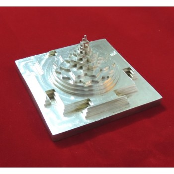 ENERGIZED SILVER PLATED 3D SHREE SRI YANTRA / MANDALA / 3 Inch