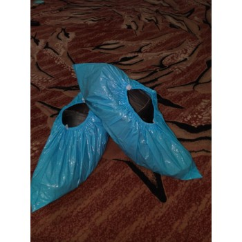 Shoe cover Blue plastic elastic  version pack of 100 1