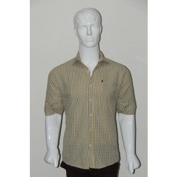 JHE Wrinkle Free Yellow Colour Casual Check Shirt Size 38