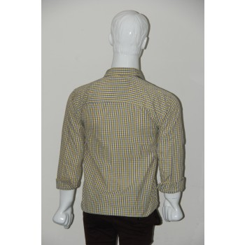 JHE Wrinkle Free Yellow Colour Casual Check Shirt Size 38 1