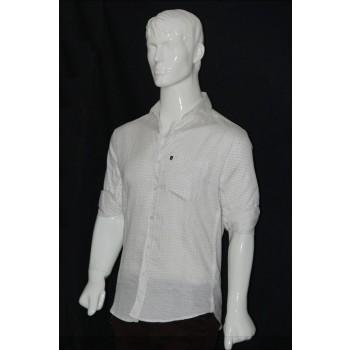 JHE Cotton White Colour Casual Print Shirt Size 46