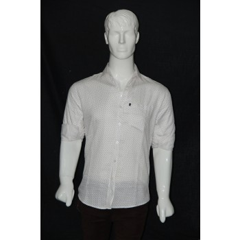 JHE Cotton White Colour Casual Print Shirt Size 40