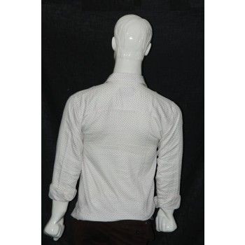 JHE Cotton White Colour Casual Print Shirt Size 42 1