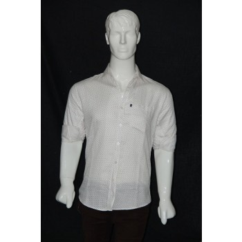 JHE Cotton White Colour Casual Print Shirt Size 38