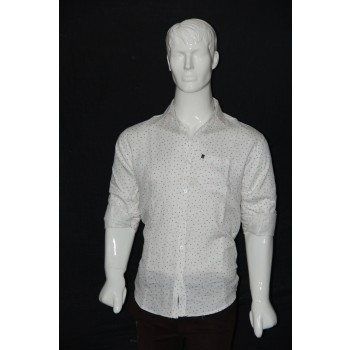 JHE Cotton White Colour Casual Print Shirt Size 40