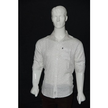 JHE Cotton White Colour Casual Print Shirt Size 46