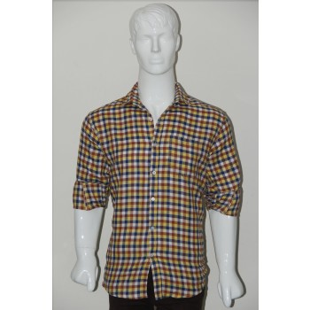 Adam Smith Cotton Golden Colour Casual Check Shirt Size 38