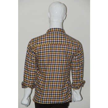 Adam Smith Cotton Golden Colour Casual Check Shirt Size 40 1