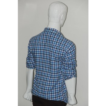 Adam Smith Cotton Sky Blue Colour Casual Check Shirt Size 38