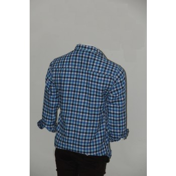 Adam Smith Cotton Sky Blue Colour Casual Check Shirt Size 40 1