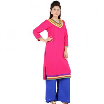 RTF Pink Rayon Stylish women kurtis Size XXL 2