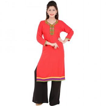 RTF Red Rayon Stylish women kurtis Size S 1