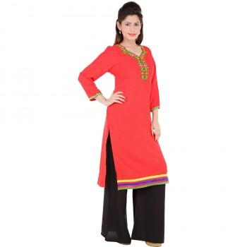 RTF Red Rayon Stylish women kurtis Size S 2