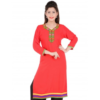 RTF Red Rayon Stylish women kurtis Size M