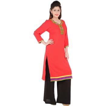 RTF Red Rayon Stylish women kurtis Size L 2