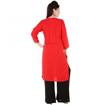 RTF Red Rayon Stylish women kurtis Size XXL 3