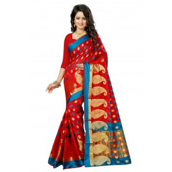 Pearl Fashion Red color Cotton silk saree with Zari work