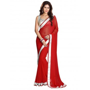 Pearl Fashion Chiffon Saree With Silver Blouse