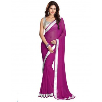 Pearl Fashion Chiffon Saree With Silver Blouse 2