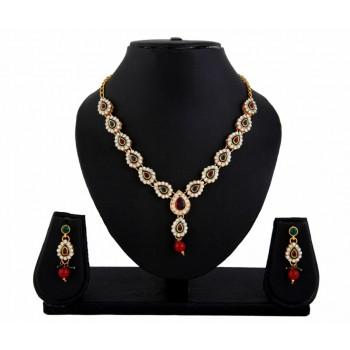 Adoreva Red Green Kundan Necklace Earrings Set for women 412