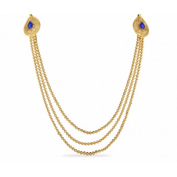 Adoreva Gold Plated Blue Stone 3 string Necklace Set for Women 411 1