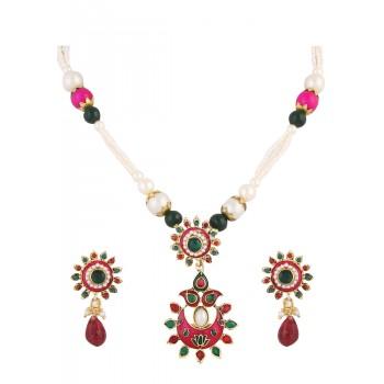 Adoreva Pink Green Pearl Pendant Earrings Set For Women 393