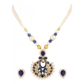 Adoreva Blue Peacock Pearl Pendant Earrings Set for Women 390