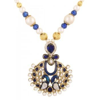 Adoreva Blue Peacock Pearl Pendant Earrings Set for Women 390 1