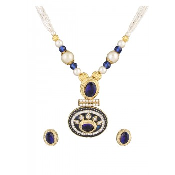 Adoreva Blue Pearl Pendant Earrings Set for Women 386