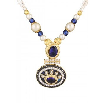 Adoreva Blue Pearl Pendant Earrings Set for Women 386 1