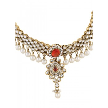 Adoreva Bridal Pearl Kundan Necklace Set for Women 361 1