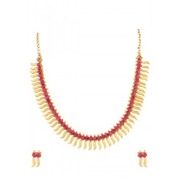 Adoreva Pink Golden Necklace Set For Women 357