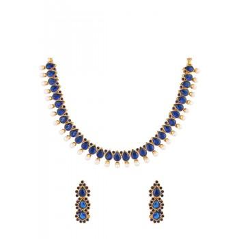 Adoreva Blue Stone Indian Necklace Set for Women 350