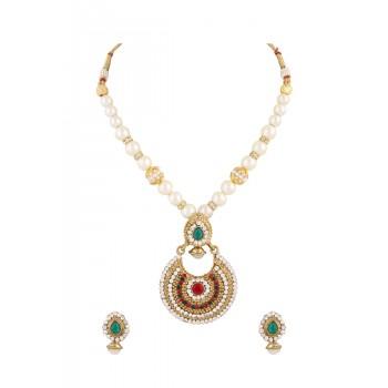 Adoreva Pearl Red Green Indian Pendant Earrings Set For Women 342