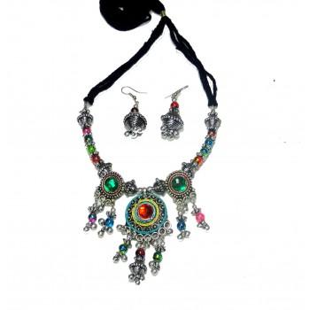 Adoreva Garba Navratri Multi-colour Necklace Earrings Set for women 336 1