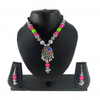 Adoreva Garba Navratri Multi-colour Necklace Earrings Set for women 320