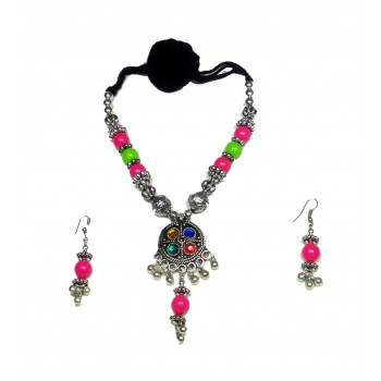 Adoreva Garba Navratri Multi-colour Necklace Earrings Set for women 320 1