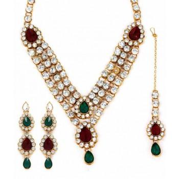 Adoreva Bridal 3 line Red Green Necklace Earrings Set for Women 305