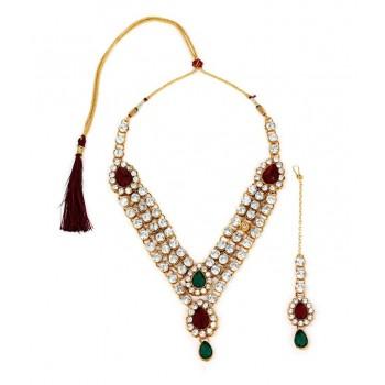 Adoreva Bridal 3 line Red Green Necklace Earrings Set for Women 305 1