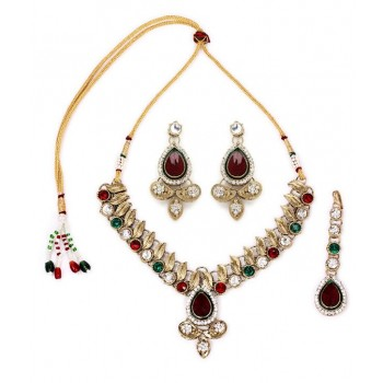 Adoreva Red Green Kundan Necklace Earrings Set for Women 260