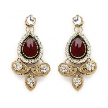 Adoreva Red Green Kundan Necklace Earrings Set for Women 260 2