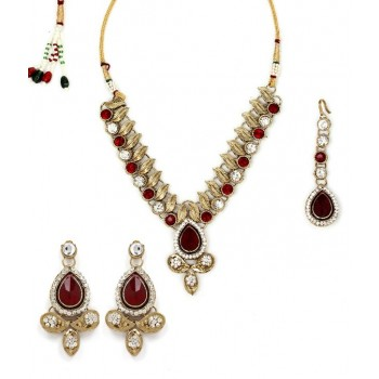 Adoreva Red Kundan Necklace Earrings Set for Women 259