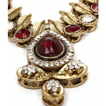 Adoreva Red Kundan Necklace Earrings Set for Women 259 2