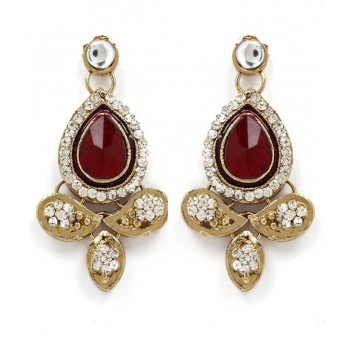 Adoreva Red Kundan Necklace Earrings Set for Women 259 3