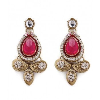 Adoreva Pink Kundan Necklace Earrings Set for Women 257 3