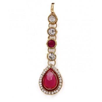 Adoreva Pink Kundan Necklace Earrings Set for Women 257 4