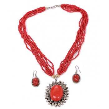 Adoreva Red Statement Necklace Earrings Set for Women 255