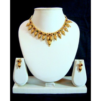 Adoreva Gold Plated Purple Green Necklace Set for Women 233