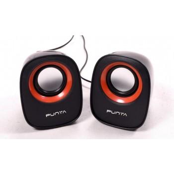 Punta Pearl 6 W Black & Orange 2.0 Channel Wired Desktop / Laptop Speaker